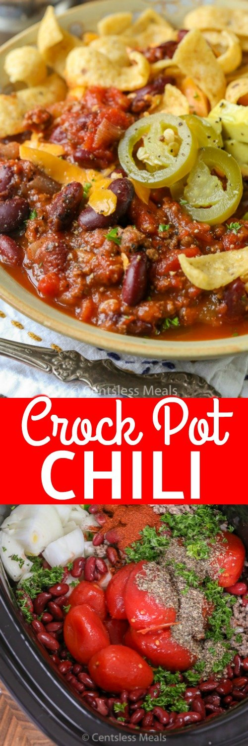 Slow Cooker Chili will become a go-to recipe for even the busiest of families! Ground beef, onions, tomatoes, beans and seasonings are combined together to create a delicious and easy crockpot meal. #spendwithpennies #crockpot #slowcooker #easyrecipe #easychili #weeknightmeal #makeahead #withgroundbeef