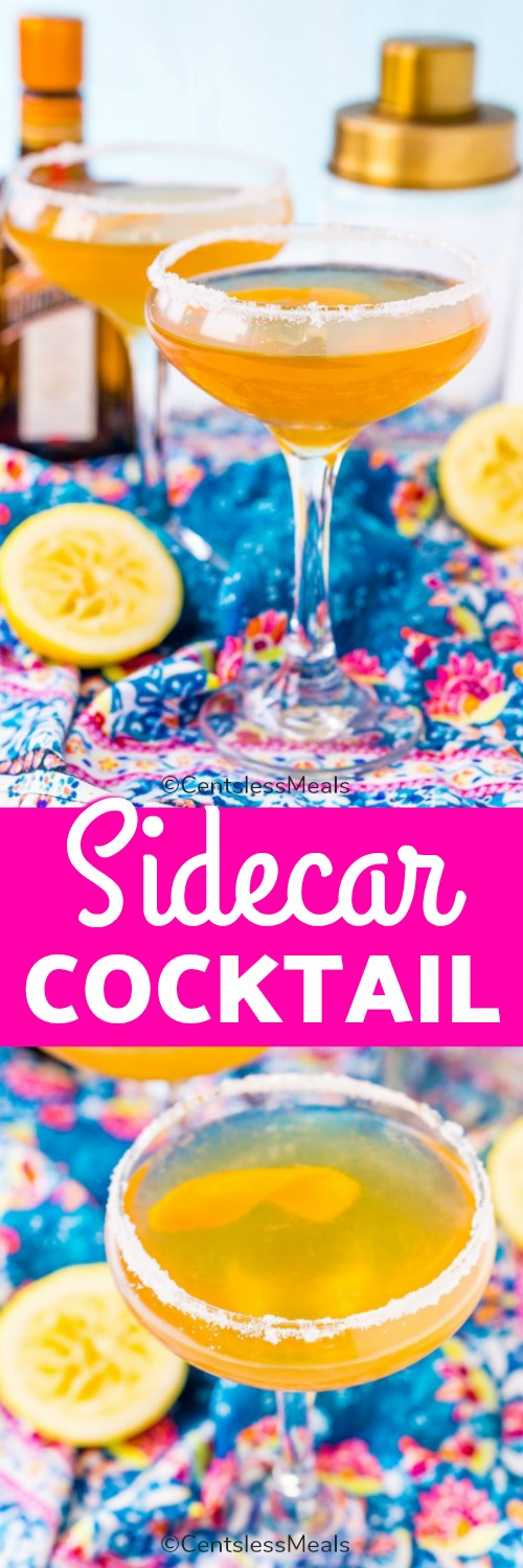 Sidecar cocktail in a glass with a title
