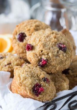 Cranberry orange muffins in a basket