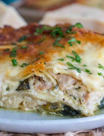 Chicken alfredo lasagna on a plate garnish with parsley