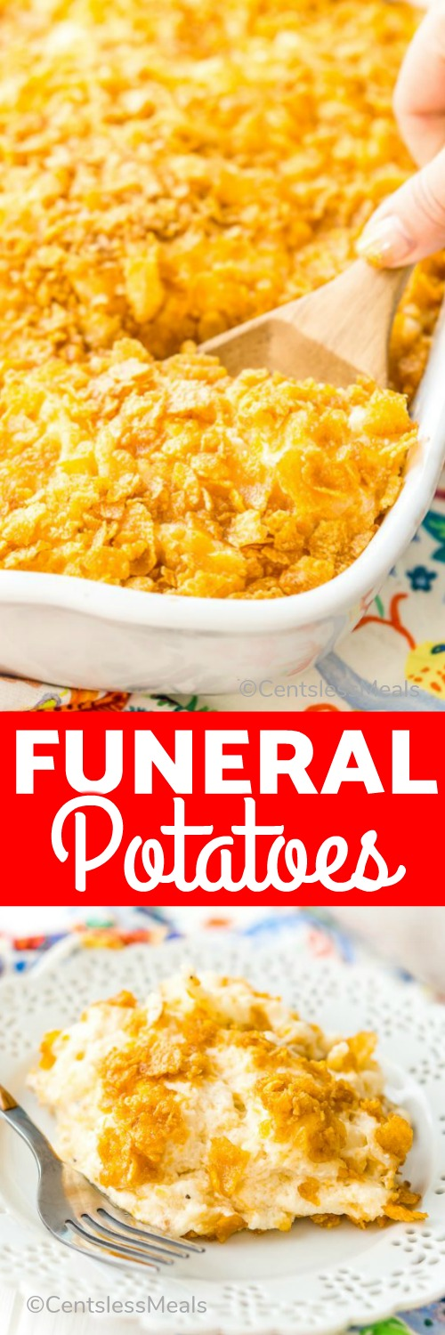 Made with hash browns, cheese, sour cream, and condensed cream of chicken soup, Funeral Potatoes are made extra irresistible with a crunchy top layer of Corn Flakes. #centslessmeals #potatocasserole #withcheese #easyrecipe #easycasserole #casserole #hashbrowns #sidedish #holiday