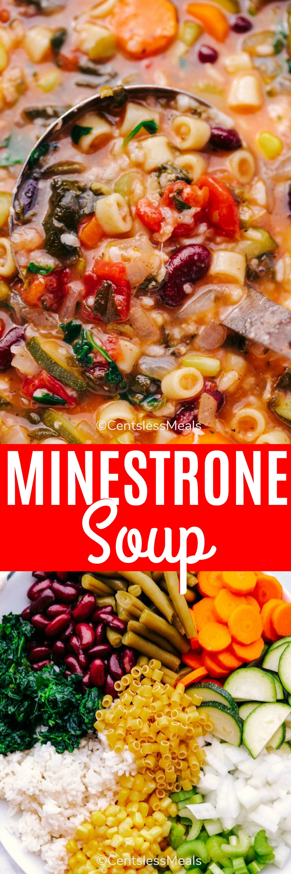 Ingredients for minestrone soup in a bowl and minestrone soup with a ladle and writing