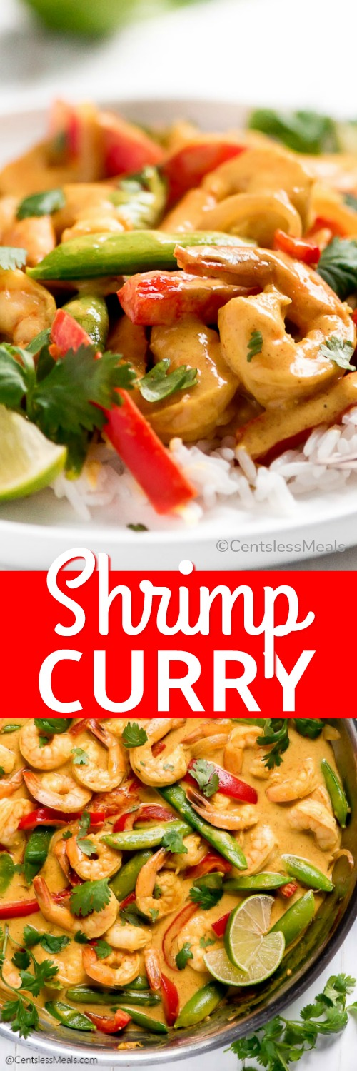 Shrimp Curry is the perfect 20 minute weeknight meal for your family! Veggies and shrimp in a coconut cream sauce is delicious over rice. #centslessmeals #shrimp #easyrecipe #thai #curry #weeknightmeal #easydinner #withshrimp #withvegetables
