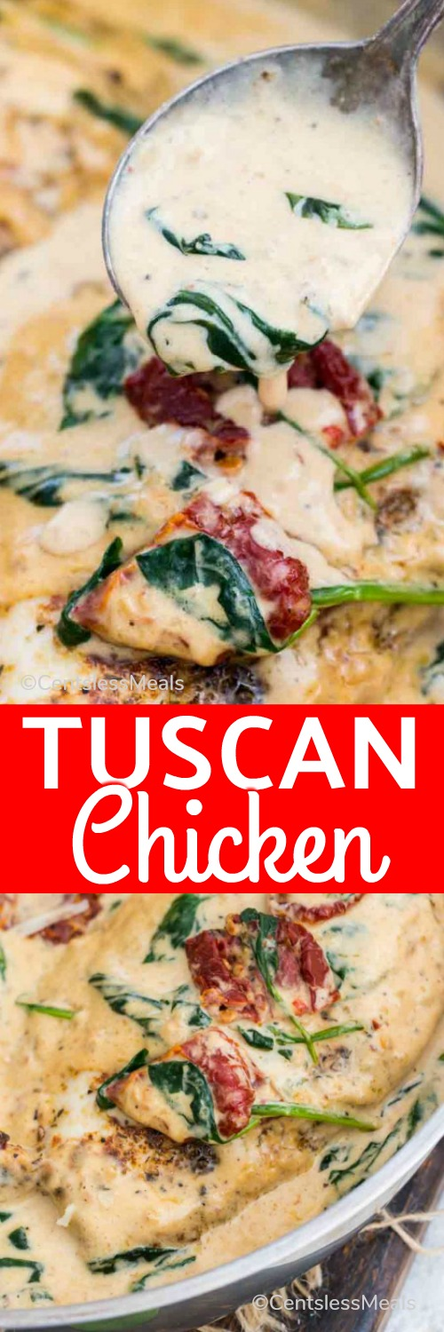 Creamy Tuscan Chicken is made in one pan in just 30 minutes. Made with flavorful dried herbs, rich cream, tangy sun dried tomatoes and fresh spinach. #centslessmeals #chicken #tuscanchicken #creamychicken #easyrecipe #creamyrecipe #withspinach #sundriedtomatoes #freshrecipe
