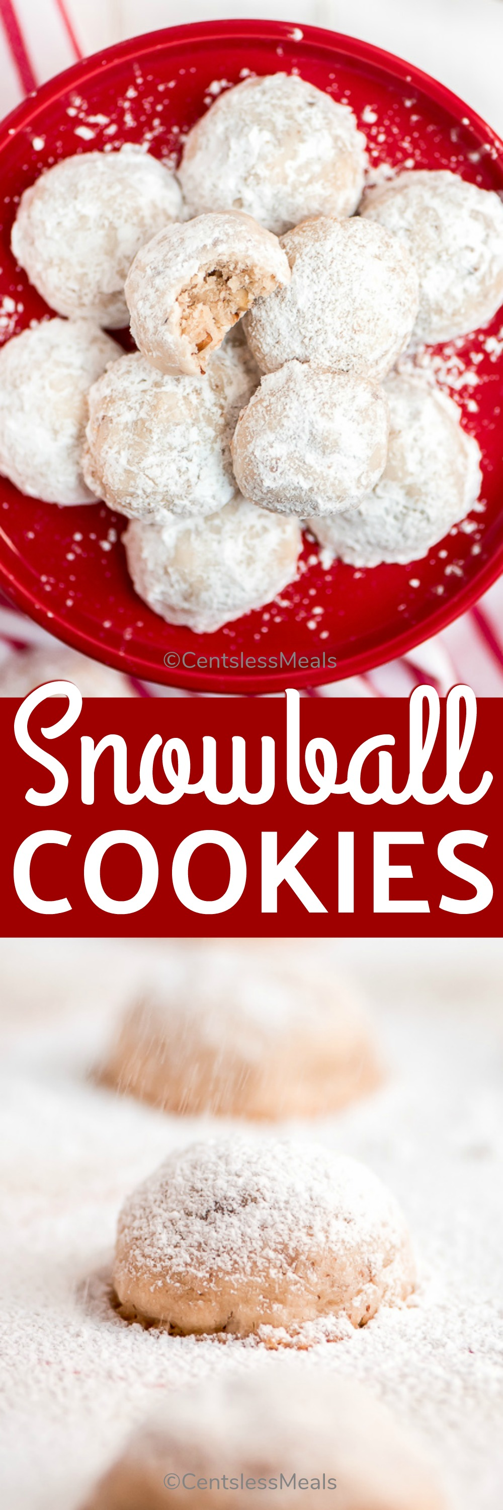 Snowball Cookies are the easiest festive winter cookie to make. These buttery, melt-in-your-mouth cookies are made with six ingredients and are ready to eat in just 30 minutes. #centslessmeals #easyrecipe #holidaycookies #holidayrecipes #cookies #cookierecipe #withpecans #festivecookie #festiverecipe