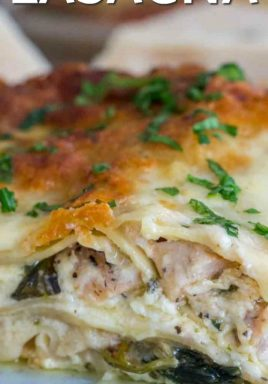 Chicken alfredo lasagna on a plate with a title