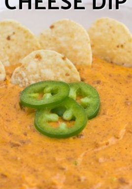 Chili cheese dip with jalapenos and tortilla chips with a title