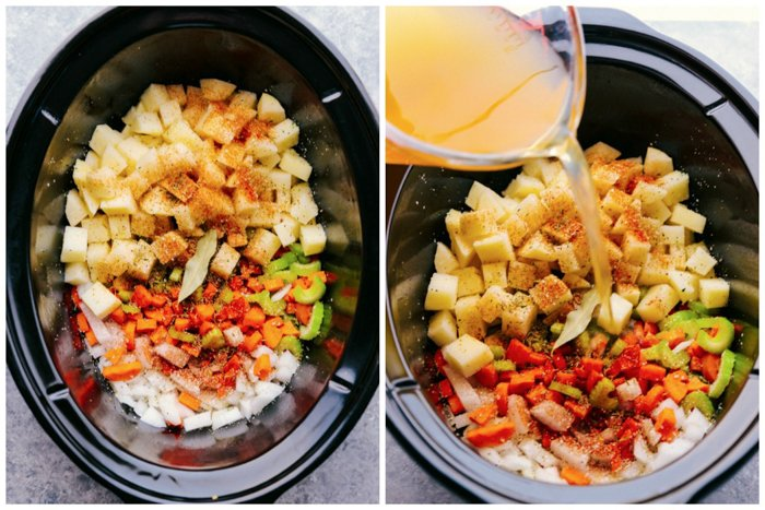 Crock-Pot corn chowder ingredients in a Crock-Pot with broth being poured in