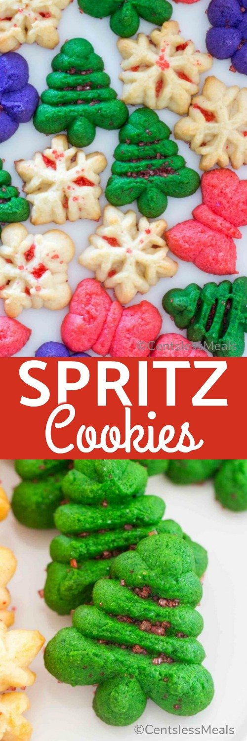 Spritz Cookies are a fun, festive and delicious treat that is perfect for the holiday season! #centslessmeals #festivecookies #easycookie #easyrecipe #cookiepress #spritzcookies #spritzcookiepress #festiverecipe #holidayrecipe #holidaycookie #holidays #holidaydessert