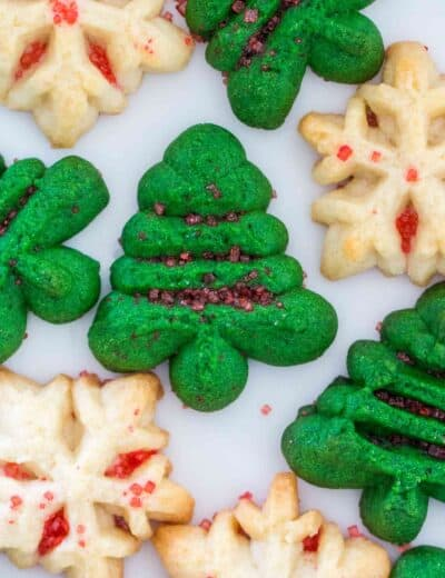 Christmas shaped spritz cookies with sprinkles