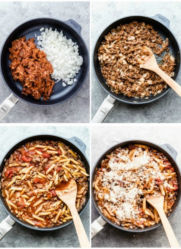 a medley of pictures showing the stages of cooking for Italian Sausage Pasta