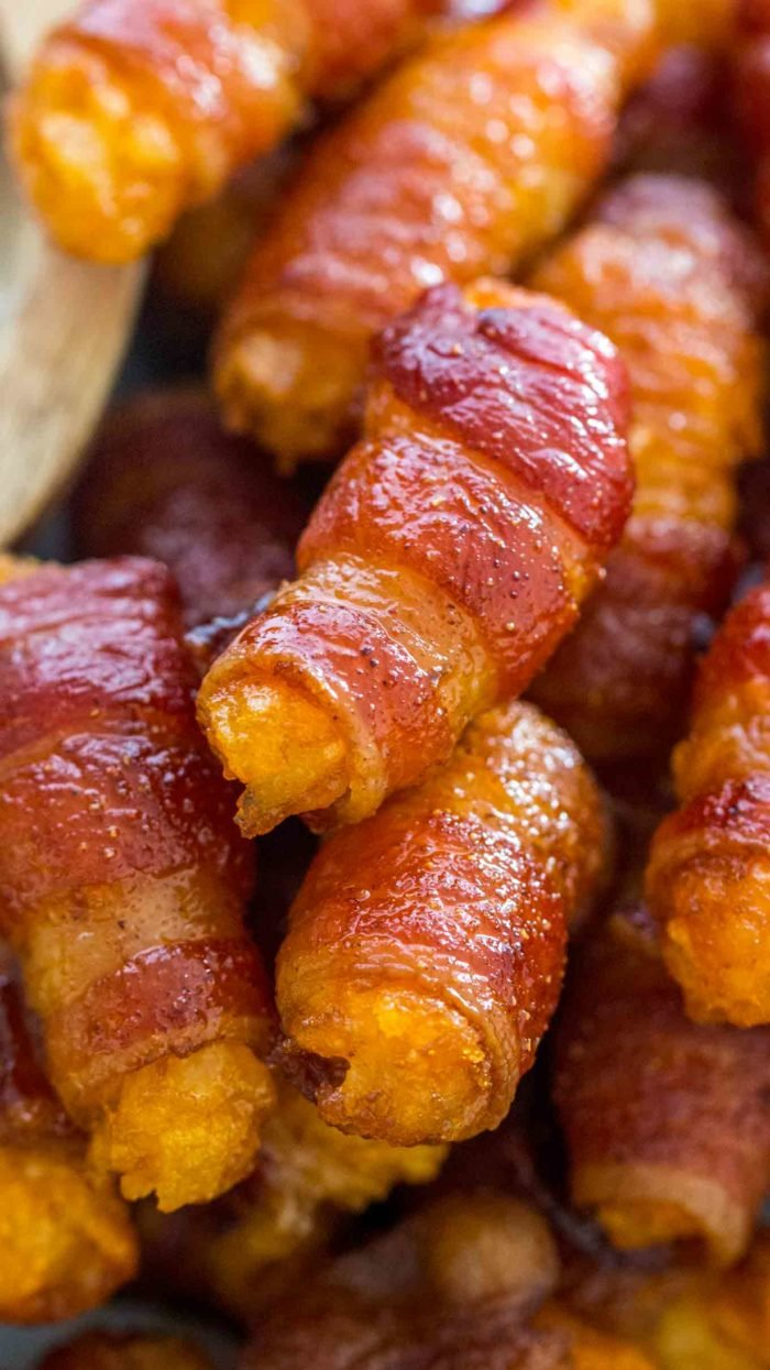 Golden and delicious Bacon Wrapped Tater Tots piled together