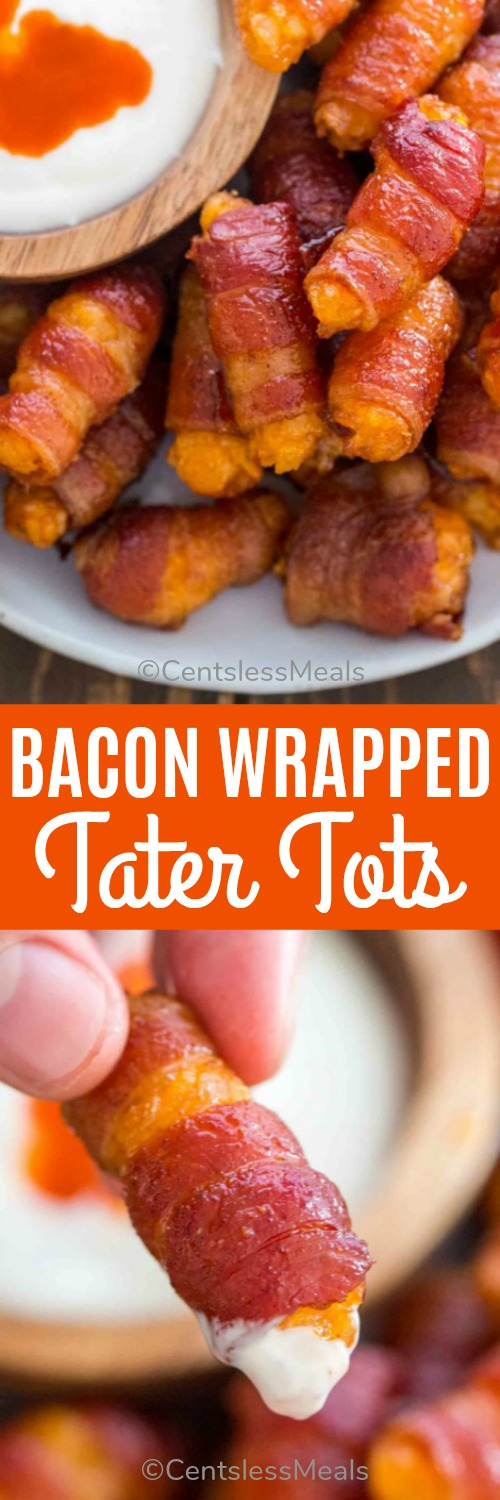 Bacon Wrapped Tater Tots make the perfect finger food and you need ONLY five simple ingredients! This is the perfect bite size appetizer that can be put together with minimum effort and fairly quickly. #centslessmeals #appetizer #easyrecipe #baconwrappedtatertots #baconwrapped #tatertots #easyappetizer #partyfood #holiday #festiverecipe