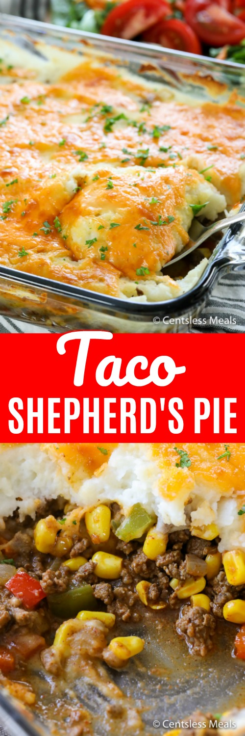 Taco shepherd's pie in a casserole dish with a scoop taken out and a title