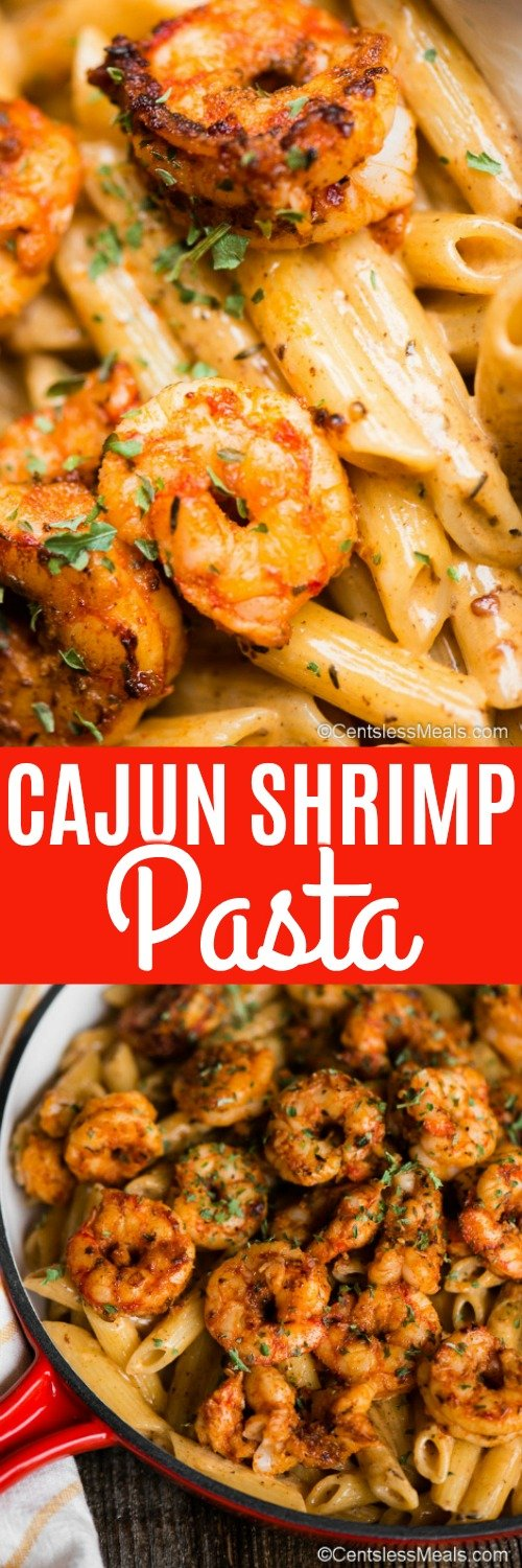 Cajun Shrimp Pasta has tender, succulent shrimp coated in a flavorful cajun seasoning and tossed with a creamy sauce and served over pasta. #centslessmeals #cajunshrimppasta #cajunshrimp #easyrecipe #easydinner #pasta #shrimp #pastadinner
