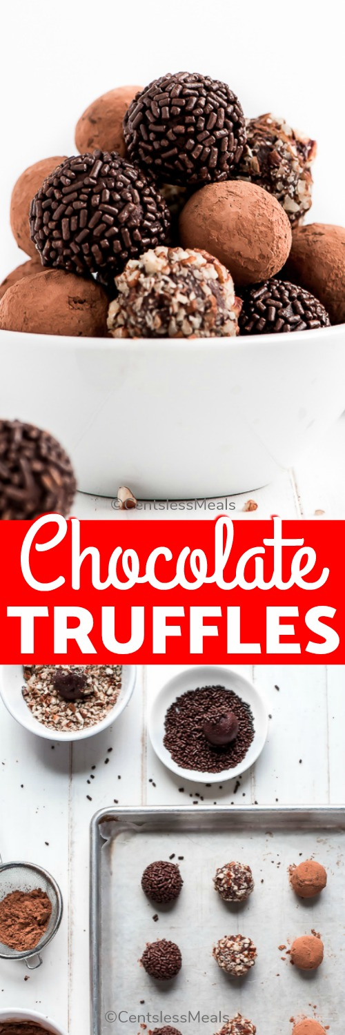 These rich, smooth, melt-in-your-mouth Chocolate Truffles are a classic and perfect for gifting for any holiday.#centslessmeals #chocolatetruffles #easyrecipe #easydessert #dessert #chocolatetreat #ganache #withchocolatesprinkles #dipped