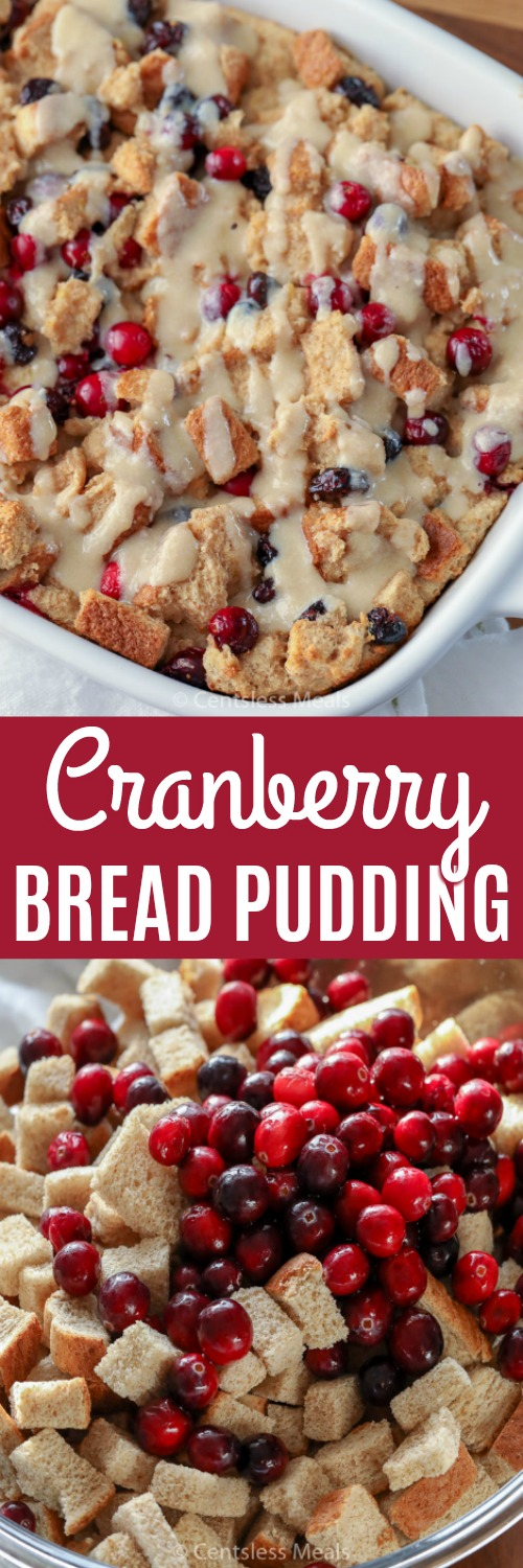 Cranberry bread pudding ingredients in a bowl and cranberry bread pudding in a casserole dish with a title
