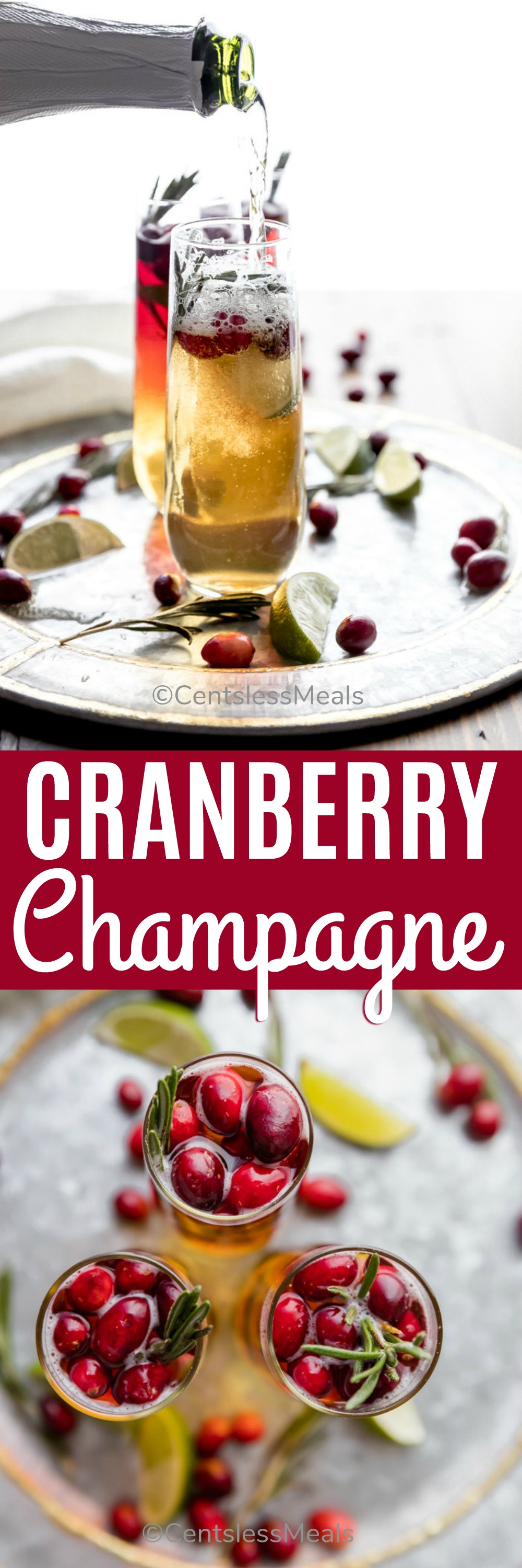 Cranberry champagne cocktails in glasses with a title