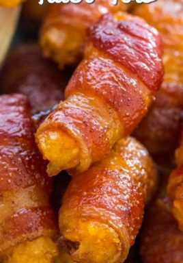 Bacon wrapped tater tots with a title