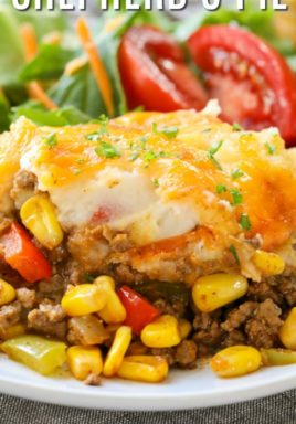 Taco shepherd's pie on a plate with a title