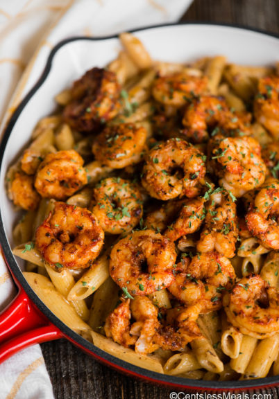 pan of pasta with shrimp