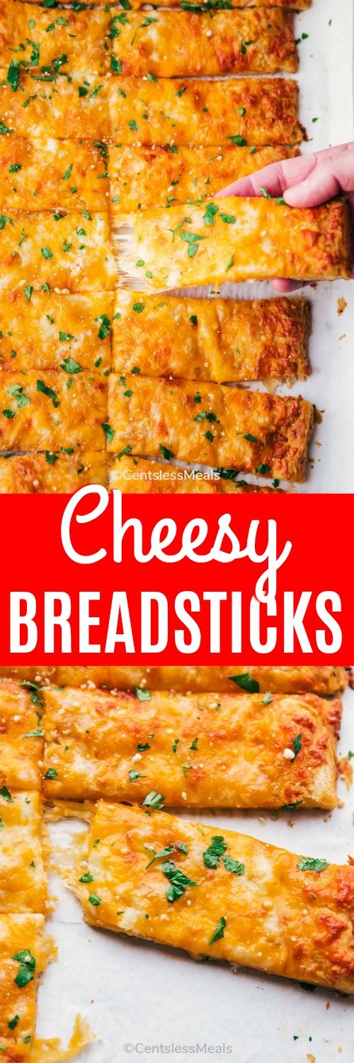 Cheesy breadsticks cut into slices with a title