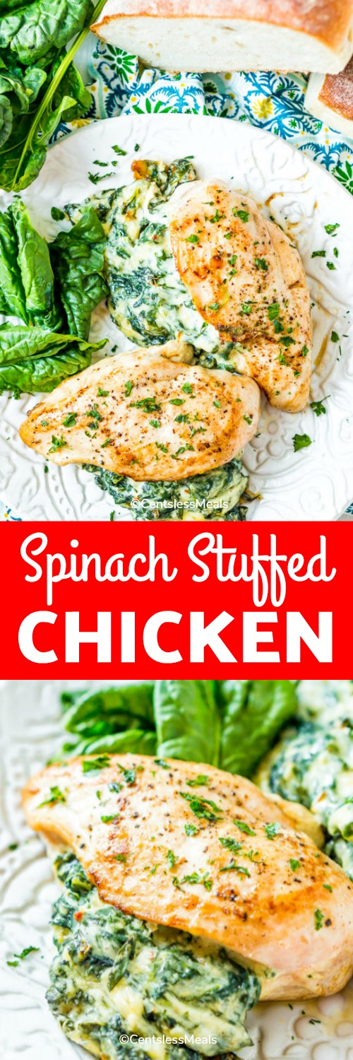 Spinach Stuffed Chicken Breasts are filled with a deliciously creamy spinach mixture and are a quick and easy meal that you can enjoy any day of the week! #centslessmeals #stuffedchicken #spinachstuffedchicken #chicken #easyrecipe #weeknightmeal #easychickenrecipe #withspinach #chickenbreast