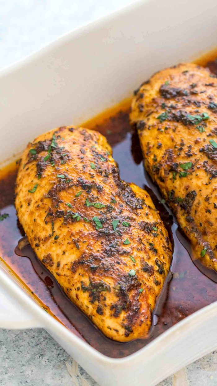Baked Chicken Breasts in the oven are deliciously seasoned and perfectly juicy.
