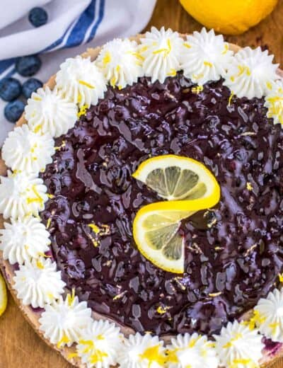 Blueberry Cheesecake garnish with lemon zest