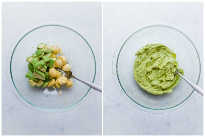 Avocados and egg yolks in a clear bowl with a fork and avocado egg mixture in a clear bowl with a fork