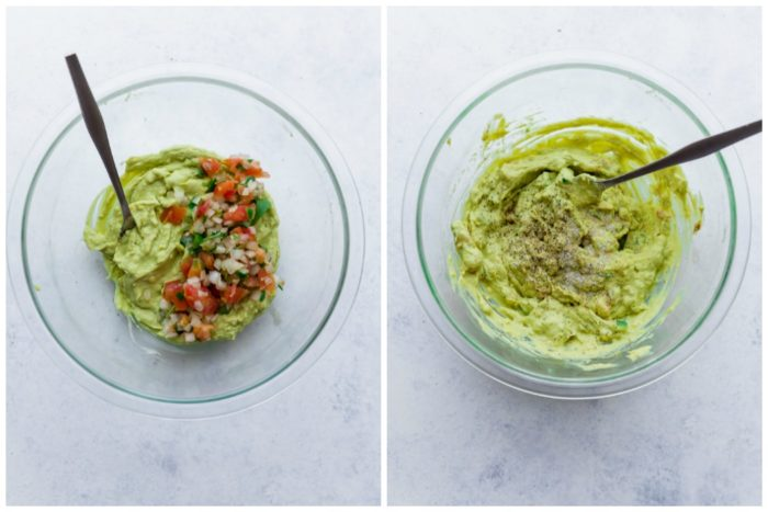 Avocado deviled egg mixture in a clear Bowl, mixed and unmixed