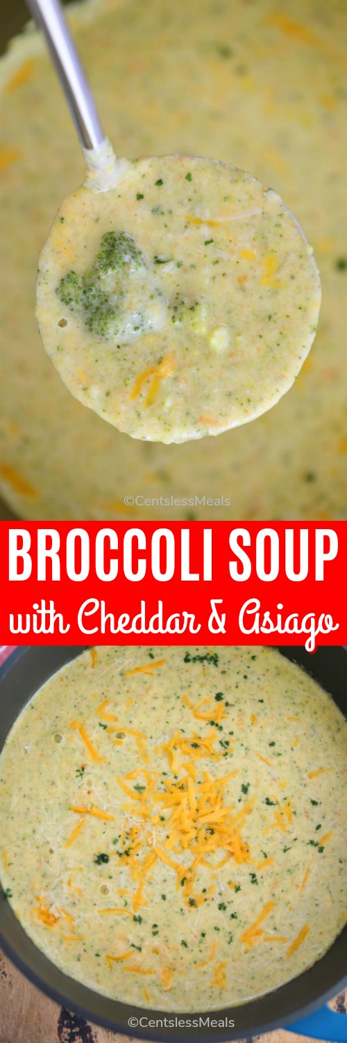 Broccoli soup with cheddar and asiago in a bowl with a ladle and a title
