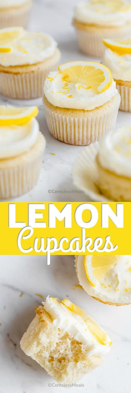 Lemon cupcakes with icing and a bite taken out of one with writing