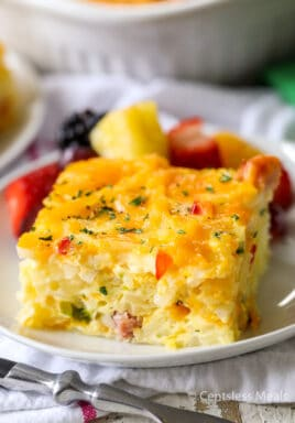 Simply Potatoes hash brown breakfast casserole on a plate garnish with parsley