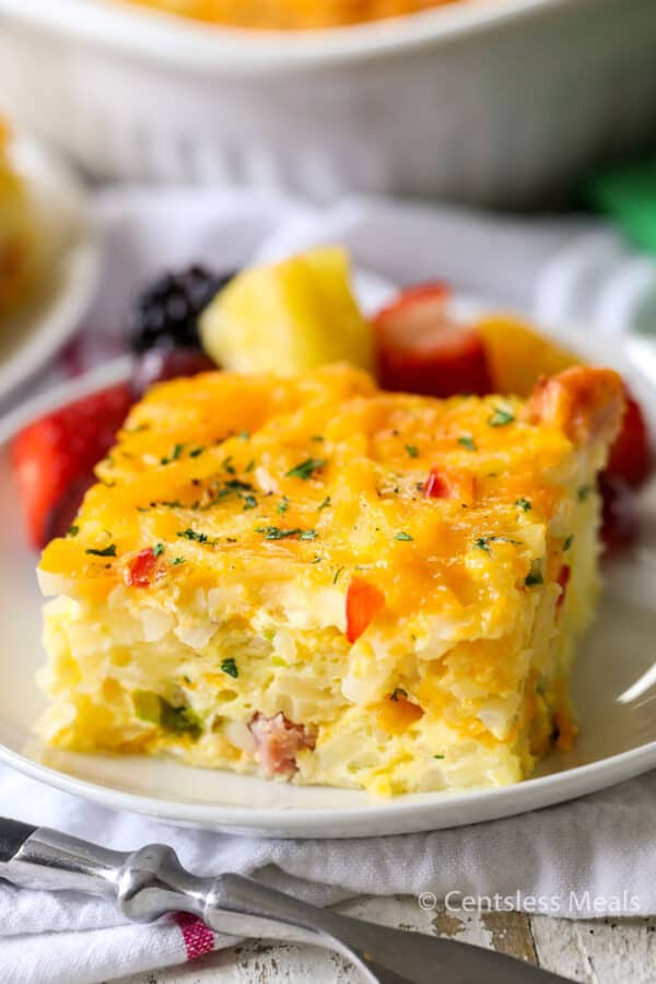 Hashbrown casserole on a plate ready to serve
