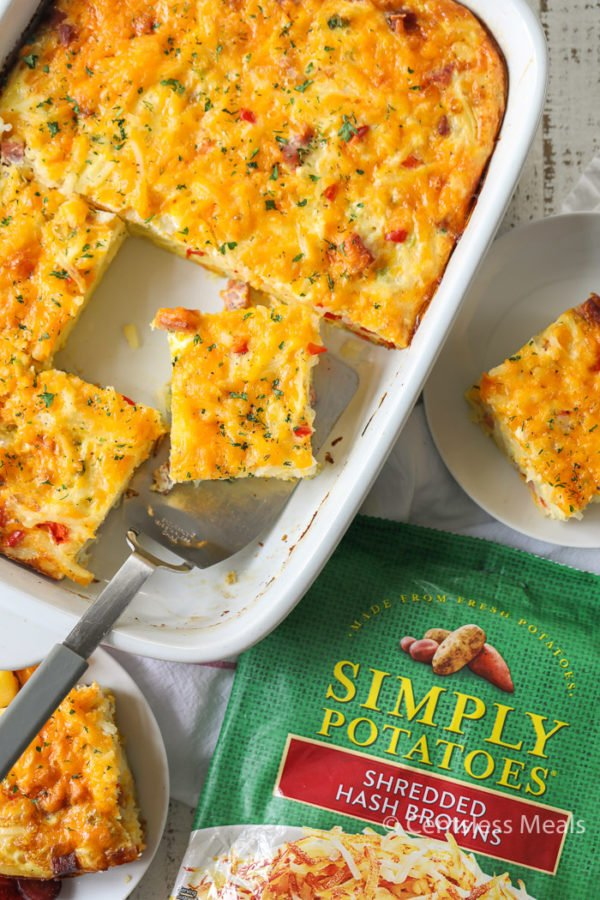 Simply Potatoes hash brown breakfast casserole in a casserole dish and on plates