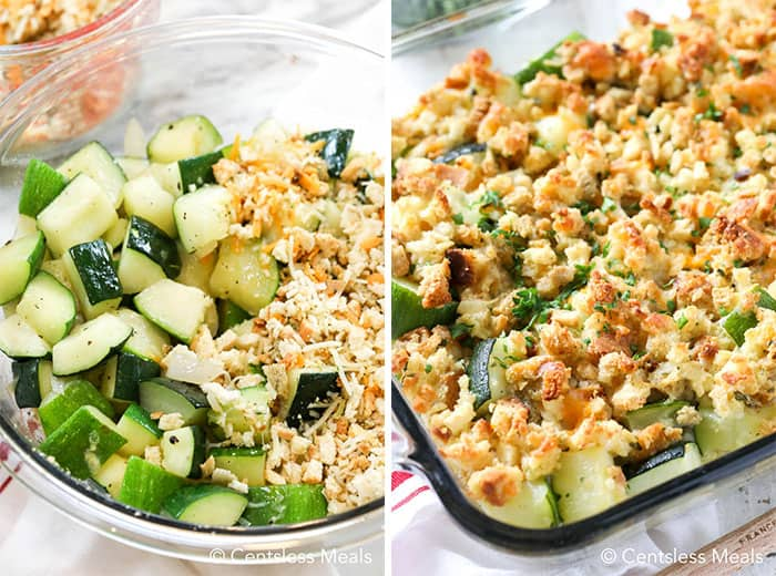 Left photo shows the ingredients for zucchini casserole in a clear bowl. The right photo shows the finished, golden brown casserole in a clear baking dish.