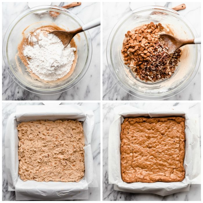 Four images showing the final steps in making butterscotch blondies. Clockwise from the top - flour and baking soda added to a clear bowl with wooden spoon for mixing; butterscotch chips and chopped pecans added to the clear glass bowl with wooden spoon for mixing; the batter in an 8x8 baking dish lined with white parchment paper; the blondies baked in the 8x8 baking dish