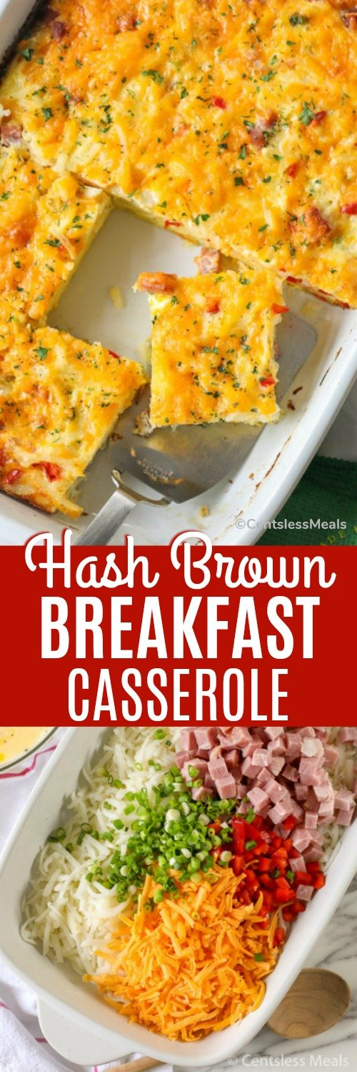 Ingredients for hash brown breakfast casserole in a white dish and hashbrown breakfast casserole in a dish with a title