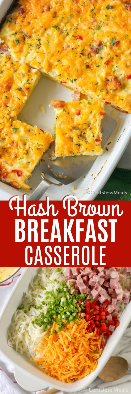 Hash Brown Breakfast Casserole is the perfect breakfast or brunch recipe! This easy casserole combines tender shredded hash browns, smoky ham and loads of cheddar cheese for a delicious easy meal! #centslessmeals #breakfastrecipe #Easterbreakfast #breakfastcasserole #overnightcasserole #hashbrowncasserole