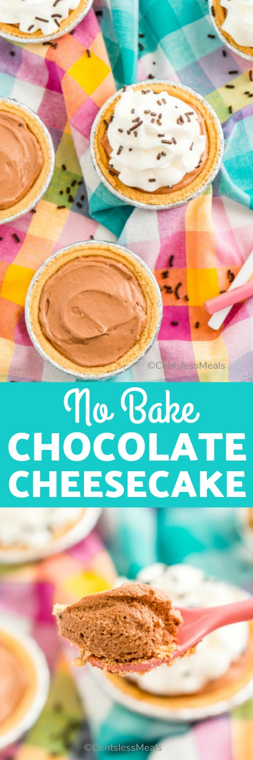 This No Bake Chocolate Cheesecake recipe is a simple and delicious chocolate dessert recipe that requires just 10 minutes of prep time! #centslessmeals #chocolatecheesecake #nobake #nobakecheesecake #easyrecipe #summertreat #minicheesecake #nobakechocolatecheesecake