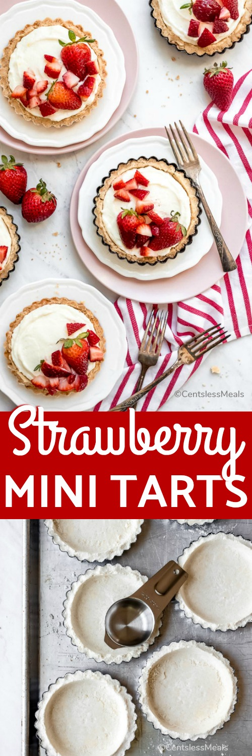 Strawberry Mini Tarts are made with a shortbread crust from scratch filled with a homemade cream cheese filling and topped with luscious and fresh strawberries. This strawberry cream cheese tart is so fresh and delicious, you may have a hard time only eating one! #centslessmeals #minitarts #strawberrytart #creamcheesetart #dessert #minidessert #shortbreadcrust #homemade #fromscratch #strawberrydessert