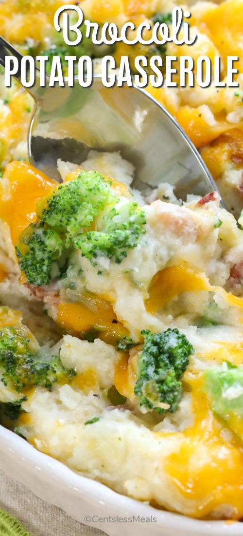 Cheesy broccoli potato casserole with a spoon and the title
