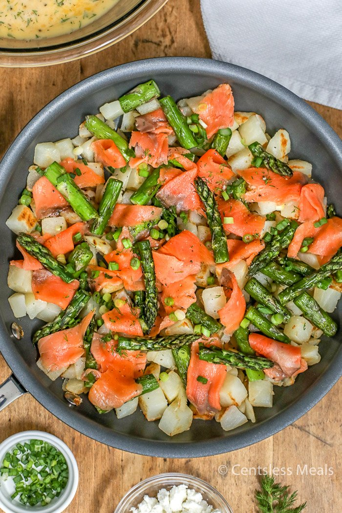 Simply Potatoes salmon frittata in a pan