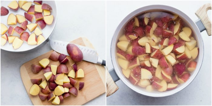 Two images showing the first steps in making this German potato salad recipe. The image on the left shows the red potatoes being cut, the image on the right shows the potatoes in a large pot covered with water to be cooked