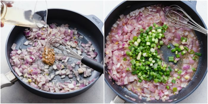 Step three of this German potato salad recipe. The image on the left shows adding apple cider vinegar to the sauteed red onions. The image on the right shows adding diced green onions