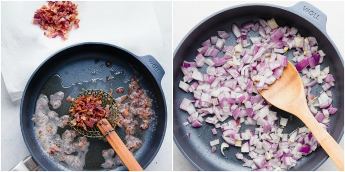Two images showing the second step in making this German potato salad recipe. The image on the left shows cooking the bacon and removing it once cooked and placing it on a paper towel. The image on the right shows the red onions being added to the reserved bacon grease and sautéed
