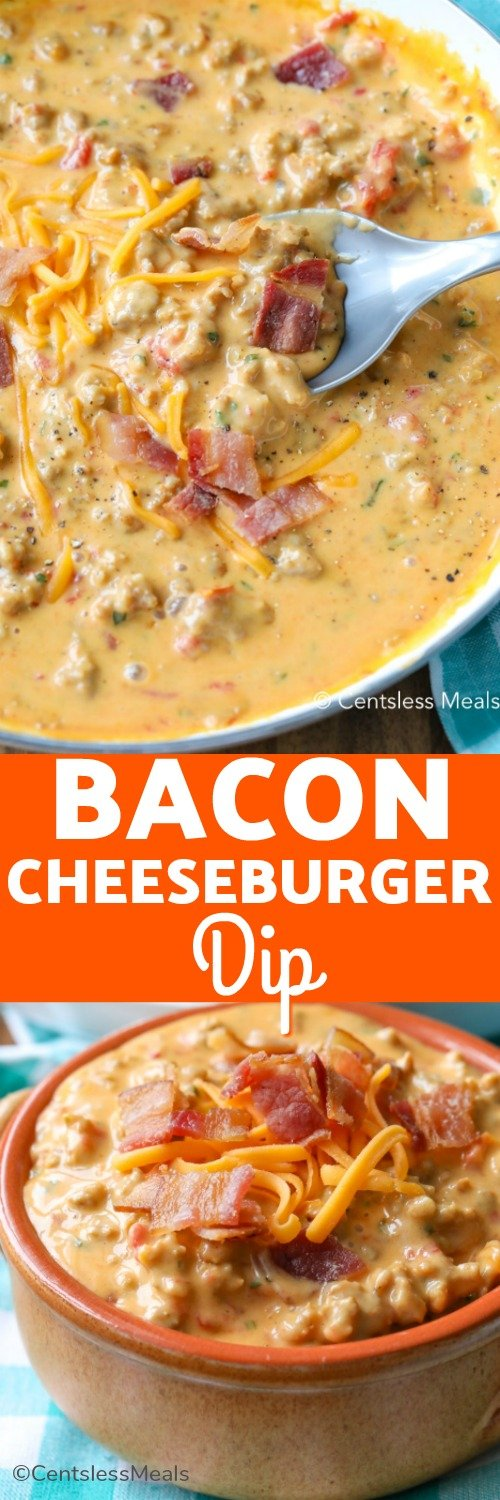 Bacon cheeseburger dip is the perfect cheesy party dip for potlucks and parties! We love serving this homemade bacon burger dip with our favorite dippers! #centslessdeals #cheeseburgerdip #baconcheesedip #baconcheeseburgerdip #burgerdip #dip #partydip