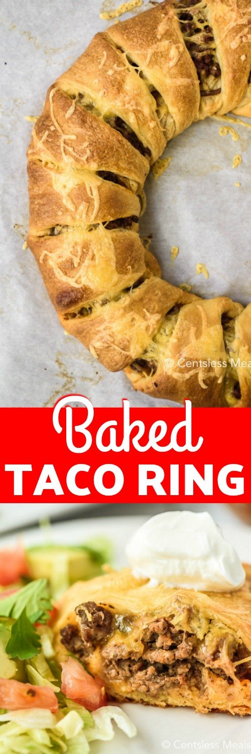 I love how customizable this baked taco ring recipe is! My whole family loves this dish with only three main ingredients, ground beef, cheese, and crescent rolls and so many topping options. Everyone gets to make it exactly how they love! Yay!! #centslessmeals #bakedtacoring #crescentrolls #tacotuesday #kidfriendly