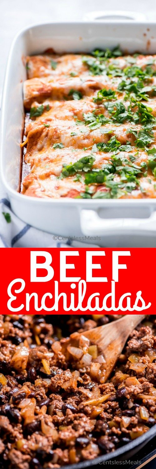 Beef Enchiladas are a hearty cheesy meal that comes together in just 30 minutes. Seasoned ground beef and beans in a red enchilada sauce are wrapped in a tortilla and smothered with melted cheese. These are so delicious that they are sure to become a family favorite! #centslessmeals #beefenchiladas #groundbeef #mexicanfood #easydinner #easyrecipe #makeahead #bakedrecipe
